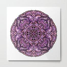 Intricate Arabesque Lavender Mandala, Purple Flower Symmetry Kaleidoscope Painting Design Metal Print