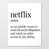 netflix Canvas Prints featuring Netflix by Liv B