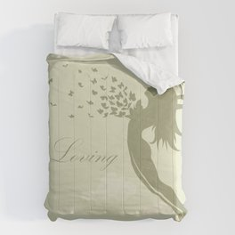 girl with butterflies in a jump Comforters