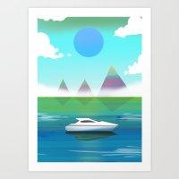 Misty Yacht Art Print