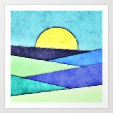 Sunrise Over Hills Art Print