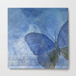 Inky Butterfly Deep Blue Shabby Metal Print