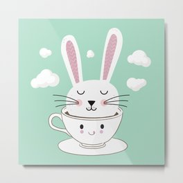 Take a Cup of Bunny Metal Print