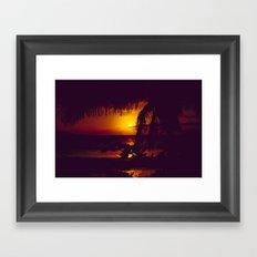 Kamaole Tropical Nights Sunset Gold Purple Palm Framed Art Print