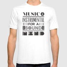 Music MEDIUM White Mens Fitted Tee