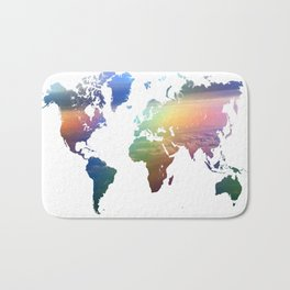 Rainbow Ocean World Map Bath Mat