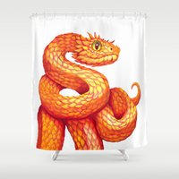 snake Shower Curtains featuring Snake by Sanjana Baijnath