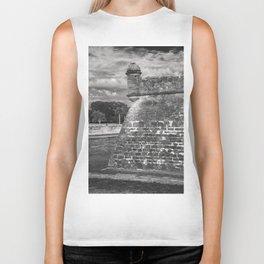 Castillo de San Marcos - black and white Biker Tank
