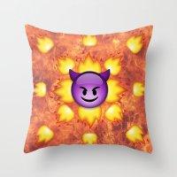 emoji Throw Pillows featuring Devil Emoji by jajoão