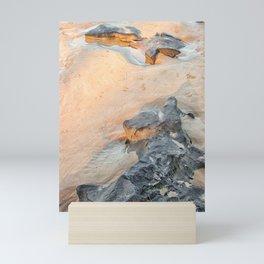 Rocks on beach, late afternoon Mini Art Print