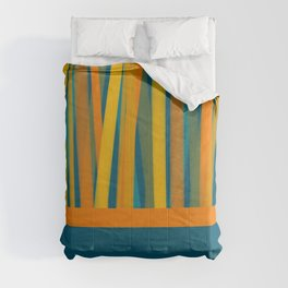 Ribbon Abstract Lined Cuff Striped Color Block Pattern in Mustard, Orange, Green, and Moroccan Blue Comforters