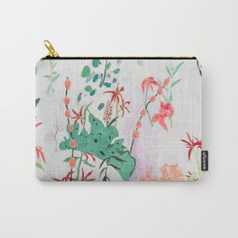 Abstract Jungle Floral on Pink and White Carry-All Pouch