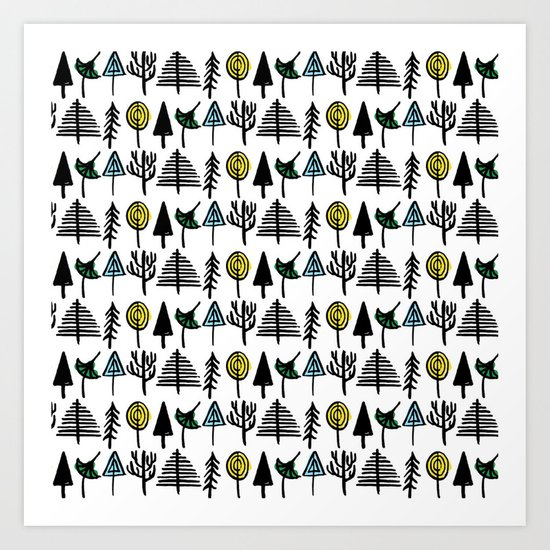 Hand drawn tree pattern Art Print