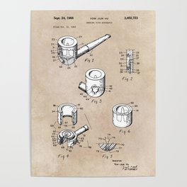 patent art Yow-Jiun Hu Smoking pipe apparatus 1968 Poster