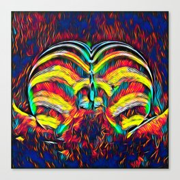 1349s-MAK Abstract Pop Color Erotica Explicit Psychedelic Yoni Buns Canvas Print