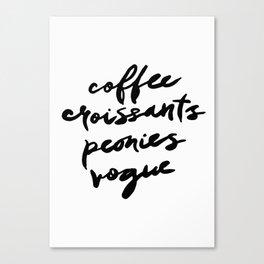 coffee croissants peonies Canvas Print