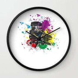 Colored roller skate gift for skater Wall Clock