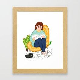 Reading Girl And Cat Framed Art Print