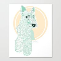 terrier Canvas Prints featuring Terrier by Dottie Dog