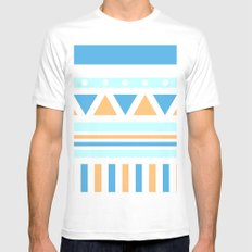 Aztec Patch; Blue. MEDIUM White Mens Fitted Tee