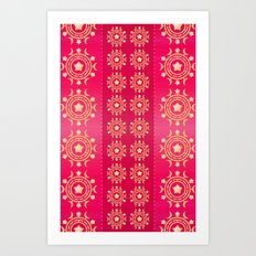 Red flowers pattern Art Print