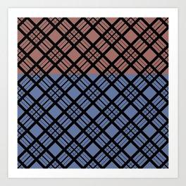 Brown-blue plaid Art Print