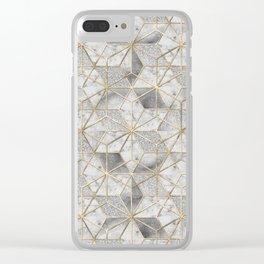 Modern gold geometric star flower pattern Clear iPhone Case