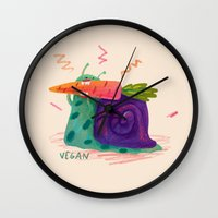 vegan Wall Clocks featuring Vegan by Vikte Eziukas
