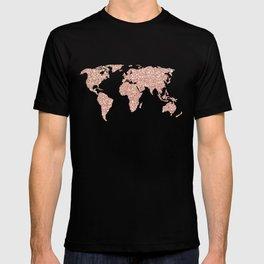Rose Gold Glitter World Map on White Marble T-shirt