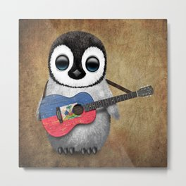 Baby Penguin Playing Haitian Flag Acoustic Guitar Metal Print