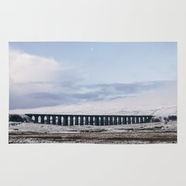 Snow and Moon over the Ribblehead Viaduct. Settle to Carlisle Railway, North Yorkshire, UK. Rug