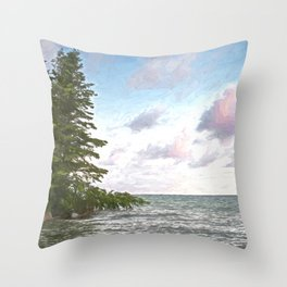 Huron leaning pine Throw Pillow