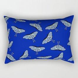 Lunar Moths Blue Rectangular Pillow