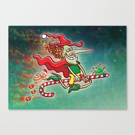 Halloween witch flying on a Christmas candy cane Canvas Print