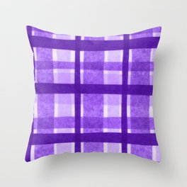 Tissue Paper Plaid - Purple Throw Pillow