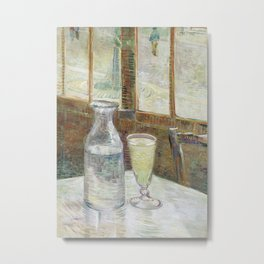 Café table with absinth Metal Print