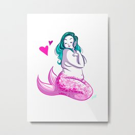 Curvy Mermaid Metal Print