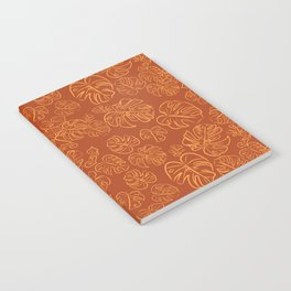 Monstera Jungle Golden Leaves Marigold Yellow & Rust palette_vector drawing  Notebook
