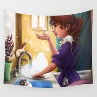 bath Wall Tapestries featuring Bath Time by Nicole M Ales