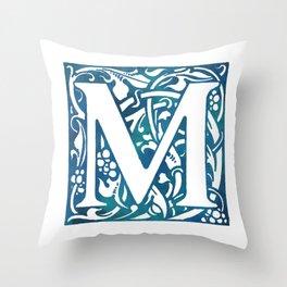 Letter M Antique Floral Letterpress Throw Pillow