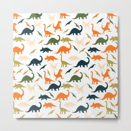 Dinos in Pastel Green and Orange Metal Print