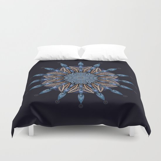 Sphinx Moth Pattern In Blue Duvet Cover