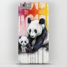 Pandas and Rainbow Watercolor Mom and Baby Panda Nursery Animals iPhone 6 Plus Slim Case