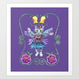 Angel Kitty (Purple) Art Print