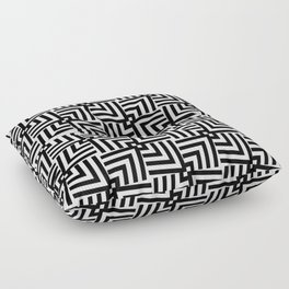 Black And White Op-Art Triangle Pattern Floor Pillow