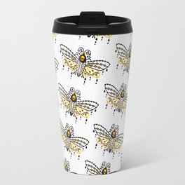 Death's Head Hawkmoth – Yellow & Black Palette Travel Mug