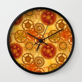 Vintage seamless pattern with gears of clockwork on aged paper background. Wall Clock