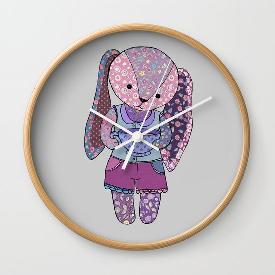 Have a cup of tea with me? - cute patchwork bunny Wall Clock