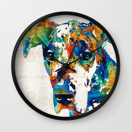 Colorful Great Dane Art Dog By Sharon Cummings Wall Clock