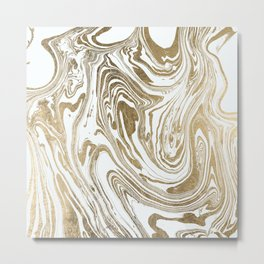 Stylish white faux gold foil elegant marble Metal Print